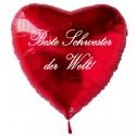 Beste Schwester der Welt! Roter Herzluftballon aus Folie mit Ballongas-Helium