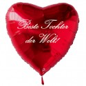 Beste Tochter der Welt! Roter Herzluftballon aus Folie mit Ballongas-Helium