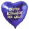 Bester Kollege der Welt! Blauer Herzluftballon aus Folie ohne Helium