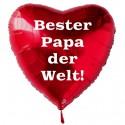 Bester Papa der Welt! Roter Herzluftballon aus Folie mit Ballongas-Helium