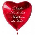 Danke! An die beste Nachbarin der Welt! Roter Herzluftballon aus Folie mit Ballongas-Helium