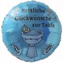 Luftballon zur Taufe eines Jungen. Herzliche Glückwünsche zur Taufe. Ballon mit Ballongas Helium