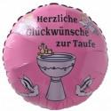 Luftballon zur Taufe eines Mädchens. Herzliche Glückwünsche zur Taufe. Ballon mit Ballongas Helium
