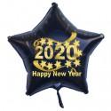 Schwarzer Silvester-Sternballon aus Folie, 2020 - Happy New Year, ohne Helium