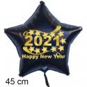 """Silvester-Sternballon aus Folie, 2021 """"Happy New Year"""" mit Helium gefüllt"""
