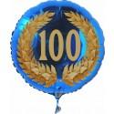 Luftballon aus Folie mit Helium, 100. Geburtstag, Zahl 100 im Lorbeerkranz