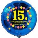 Luftballon aus Folie mit Helium, 15. Geburtstag, Balloons