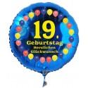 Luftballon aus Folie mit Helium, 19. Geburtstag, Balloons