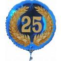 Luftballon aus Folie mit Helium, Zahl 25 im Lorbeerkranz, zu Geburtstag, Jubiläum und Jahrestag