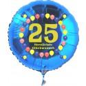 Luftballon aus Folie mit Helium, Zahl 25, zum 25. Geburtstag, Balloons, blau