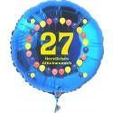 Luftballon aus Folie mit Helium, Zahl 27, zum 27. Geburtstag, Balloons, blau