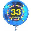 Luftballon aus Folie mit Helium, Zahl 33, zum 33. Geburtstag, Balloons, blau