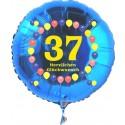 Luftballon aus Folie mit Helium, Zahl 37, zum 37. Geburtstag, Balloons, blau