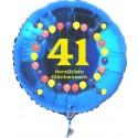 Luftballon aus Folie mit Helium, Zahl 41, zum 41. Geburtstag, Balloons, blau