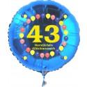 Luftballon aus Folie mit Helium, Zahl 43, zum 43. Geburtstag, Balloons, blau