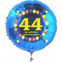 Luftballon aus Folie mit Helium, Zahl 44, zum 44. Geburtstag, Balloons, blau