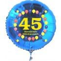 Luftballon aus Folie mit Helium, Zahl 45, zum 45. Geburtstag, Balloons, blau