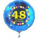 Luftballon aus Folie mit Helium, Zahl 48, zum 48. Geburtstag, Balloons, blau