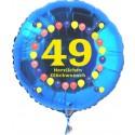 Luftballon aus Folie mit Helium, Zahl 49, zum 49. Geburtstag, Balloons, blau