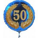 Luftballon aus Folie mit Helium, Zahl 50 im Lorbeerkranz, zu Geburtstag, Jubiläum und Jahrestag
