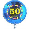 Luftballon aus Folie mit Helium, Zahl 50, zum 50. Geburtstag, Balloons, blau