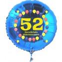 Luftballon aus Folie mit Helium, Zahl 52, zum 52. Geburtstag, Balloons, blau