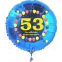 Luftballon aus Folie mit Helium, Zahl 53, zum 53. Geburtstag, Balloons, blau