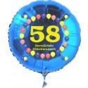 Luftballon aus Folie mit Helium, Zahl 58, zum 58. Geburtstag, Balloons, blau