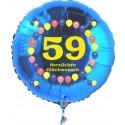 Luftballon aus Folie mit Helium, Zahl 59, zum 59. Geburtstag, Balloons, blau