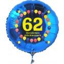 Luftballon aus Folie mit Helium, 62. Geburtstag, Balloons