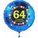 Luftballon aus Folie mit Helium, 64. Geburtstag, Balloons