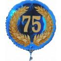 Luftballon aus Folie mit Helium, 75. Geburtstag, Zahl 75 im Lorbeerkranz