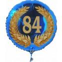 Luftballon aus Folie mit Helium, Zahl 84 im Lorbeerkranz, zu Geburtstag, Jubiläum und Jahrestag