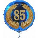 Luftballon aus Folie mit Helium, 85. Geburtstag, Zahl 85 im Lorbeerkranz