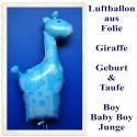 Große Giraffe, Luftballon zu Geburt und Taufe eines Jungen, It's a Boy, Ballon mit Ballongas Helium