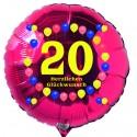Luftballon aus Folie mit Helium, 20. Geburtstag, Balloons