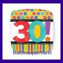 Luftballon aus Folie, Dots and Stripes, zum 30. Geburtstag, mit Helium