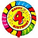 Luftballon aus Folie mit Helium, 4. Geburtstag, Animalloon