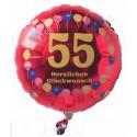 Luftballon aus Folie mit Helium, 55. Geburtstag, Balloons