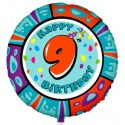 Luftballon aus Folie mit Helium, 9. Geburtstag, Animalloon