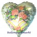 Glückwünsche zur Hochzeit, Luftballon aus Folie, Wedding Wishes, Hochzeitsglocken und Blumen, ohne Helium