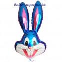Luftballon Hase, blau, Folienballon mit Ballongas