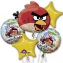 Ballon-Bouquet aus 5 Angry Birds Luftballons, inklusive Helium zum Kindergeburtstag