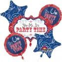 Ballon-Bouquet aus 5 USA-Party Luftballons, Bandana & Blue Jeans, inklusive Helium