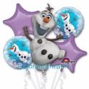 Ballon-Bouquet aus 5 Olaf Luftballons, Die Eiskönigin, Frozen, inklusive Helium zum Kindergeburtstag