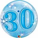 Luftballon zum 30. Geburtstag, Blau, Bubble Luftballon (ohne Helium)