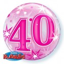 Luftballon zum 40. Geburtstag, Pink, Bubble Luftballon (ohne Helium)