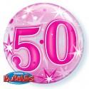 Luftballon zum 50. Geburtstag, Pink, Bubble Luftballon (ohne Helium)