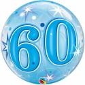 60. Geburtstag, Bubble Luftballon, blau (mit Helium)