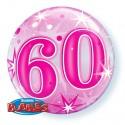 Luftballon zum 60. Geburtstag, Pink, Bubble Luftballon (ohne Helium)